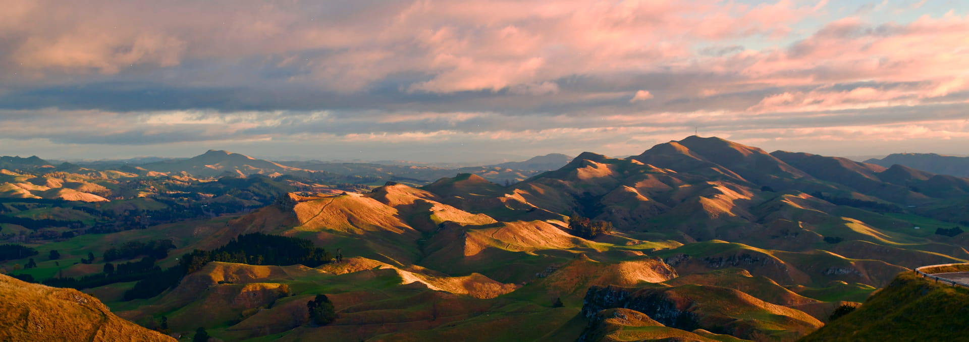 Rolling New Zealand hills under a cloudy sky at sunset