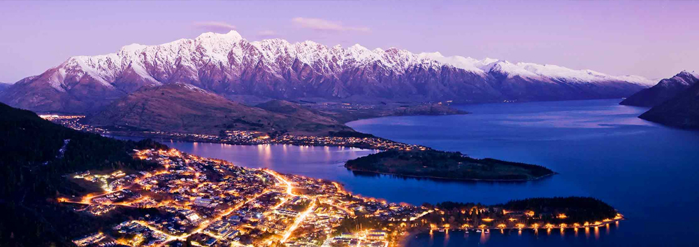 Queenstown aerial view at night with mountains