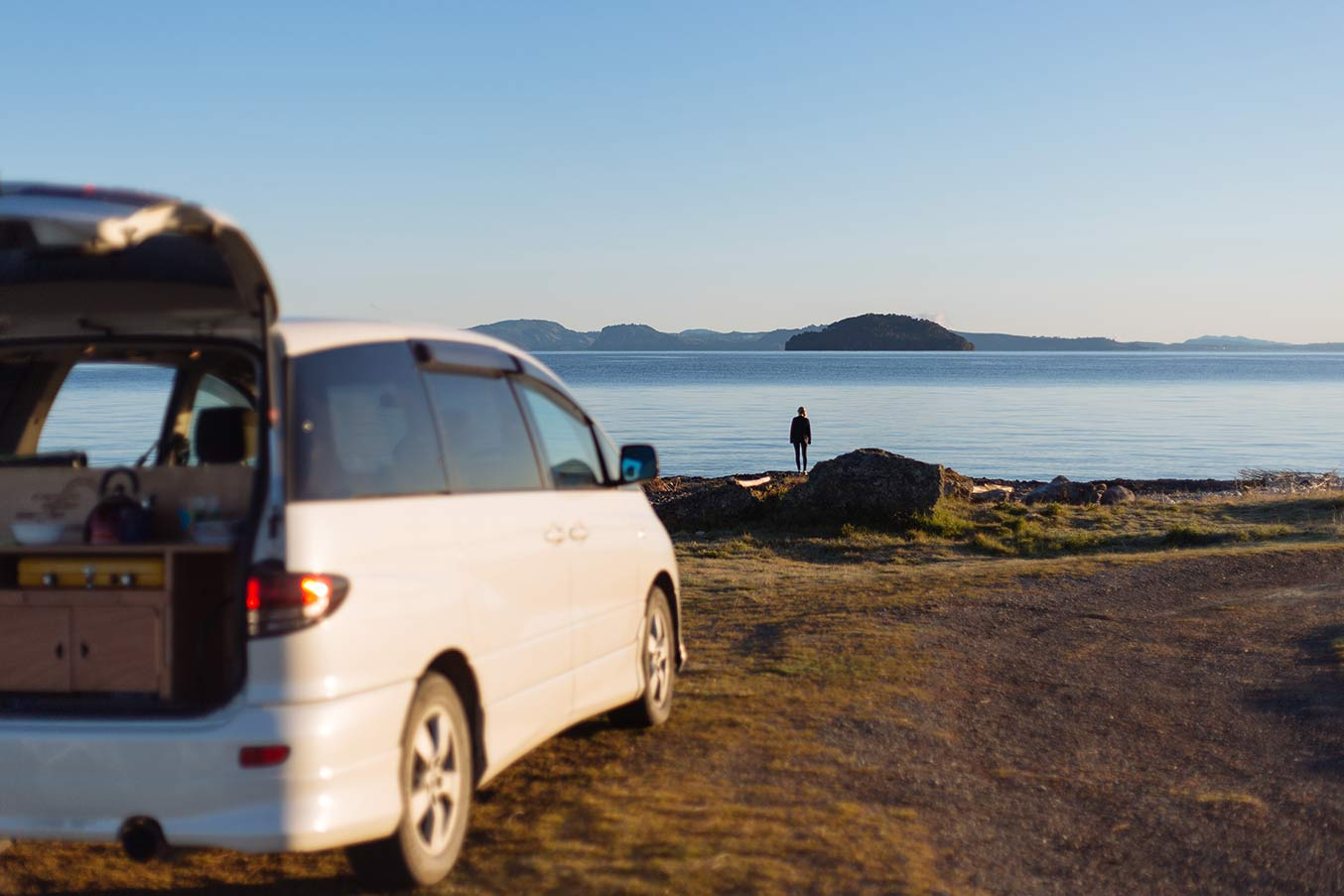 Mode rental campervan by NZ ocean
