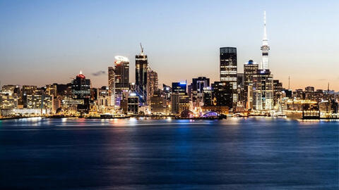 Auckland skyline at dusk