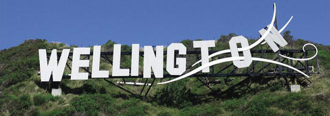 Wellington sign on a hill
