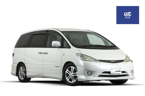 Toyota Estima Self Contained Rental Campervan exterior from Mode